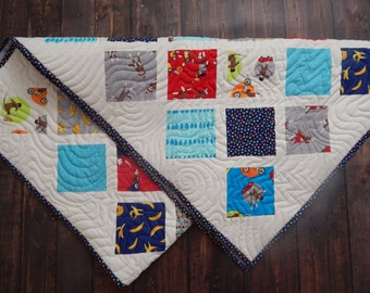 Baby Quilt By Moda in the Fabric line Monkey Tails....Beautiful Keepsake....Lattice ......Red...Blue..Grey.