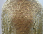 Gold green Lace, bridal lace, lace fabric, Vintage (D-65)