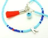 Friendship Bracelet - Monogram Bracelet - Beaded Bracelet - Turquoise Red Personalized Bracelet - Tassel Bracelet - Initial Bracelet