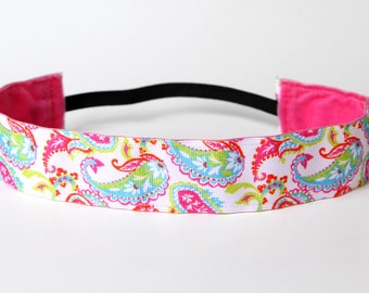 "Preppy Paisley Nonslip Headband 1.5"", Gifts for Runners, Southern Chic, Yoga Headband, Southern Prep, Preppy Headband, Resort Wear"