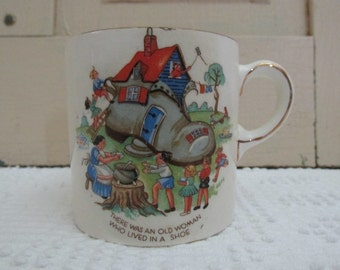 Vintage Child's Mug, There Was an Old Woman Who Lived in a Shoe, Royal Wilton Child Mug