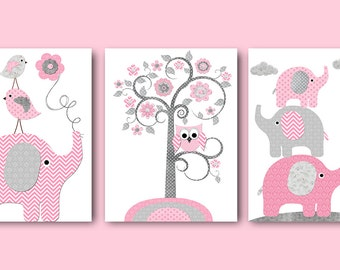 Childrens Art Print Pink Gray Elephant Nursery Decor Baby Girl Nursery Art Print Kids Art Kids Room Decor Playroom Decor set of 3 11X14
