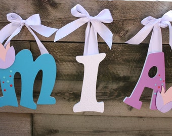 Custom Nursery Letters- Personalized Name- MIA-Tulip nursery-Turquiose-white- lavender-Peach- Wooden Hanging Letters - Honey Boo Boutique