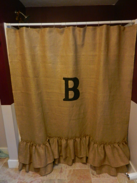 Burlap Ruffled Shower Curtain With Monogram Measures