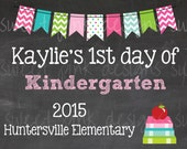 Chalkboard 1st day of School Sign Pink