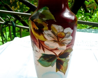 Glass Vase - Antique Bristol Glass - Hand Painted with Large Flowers - Opaque Tall Glass - Collectable