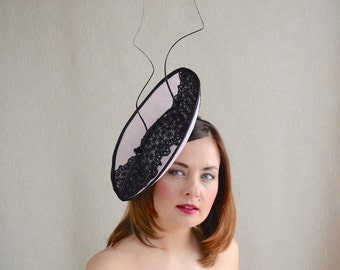 SALE - Black and Soft Pink Percher with Lace and Feather Quills - Black and Pink Saucer Hat - Wedding, Ascot
