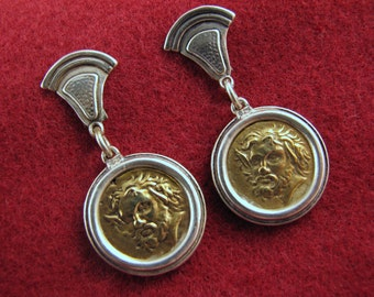 Vintage PIPIS of Greece Brass/Sterling COIN Earrings -- 17+ Grams, Dangle/Pierced/Posts, Excellent Condition, Alexander the Great?