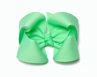 Hair Bows for Toddlers, Mint Green, 4 Inch Hair Bow, Girl Hairbow,  Solid Color Bows on Snap clip, Alligator Clip, Barrette, 400