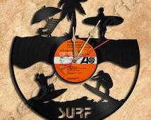 Wall Clock Surfing Vinyl Record Clock Upcycled Gift Idea