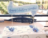 Hand torn watercolor Cake Topper