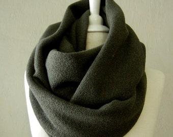 LIX PERLE:  Lexi Olive Knit Infinity Scarf, Circular loop tube versatile hood shawl unisex handmade scarf
