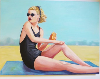 Ginger, an original painting of a vintage woman wearing round sunglasses sunning herself.