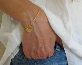 14k bracelet, 14k gold filed, gold bracelet, delicate bracelet, delicate gold bracelet, minimalist bracelet, flower bracelet