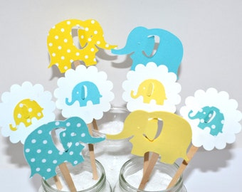12 Elephant Cupcake Toppers / Baby Shower Decor / Gender Reveal Baby Shower / Elephant Invitation / Elephant Baby Shower/ Elephant Toppers