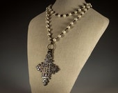 Statement Necklace with Vintage Cross, White Pearls & Irish Waxed Linen