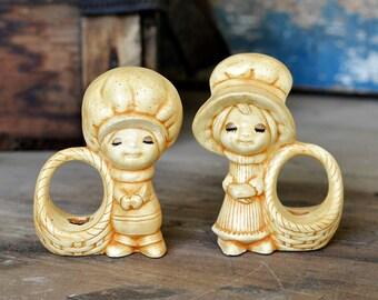 Farm Girl & Boy Napkin Ring Holders or Air Fern Planters - Hand Painted Ceramic, Cute Kitsch Kids - Vintage Home Decor