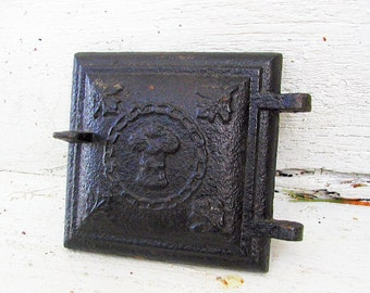 Architectural Salvage Old Stove Door, Wheat Pattern Barn Find, Industrial Cast Iron SteamPunk