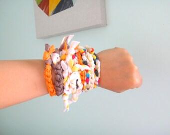 Tshirt Colorful Bracelet and Necklace Fabric Jewelry Upcycled Necklace Hippie Boho Zero Waste by MYFROGGY