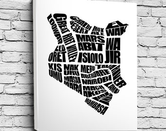 Kenya Word Map - A typographic word map of Kenyan Cities, Home Decor Wall Art, Black and White, Canvas or Print, Moving Gift, Kenyan Map Art