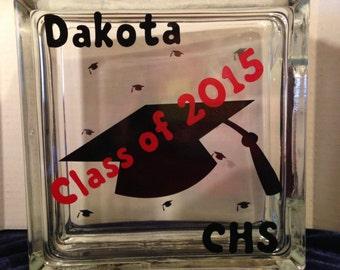 Custom Graduation glass block 8 x 8