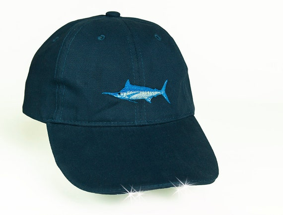 saltwater fish flashlight hat blue marlin fishing gift for