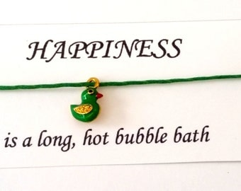Bubble bath themed Happiness friendship bracelet on waxed cotton cord with a gold metallic organza bag OR Silver Plated Key Ring