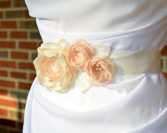 Floral Bridal Sash - Ivory and Champagne Floral Wedding Sash - Flower Sash - Floral Bridal Sash - Bridal Applique - Bridal Floral Applique