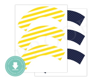 INSTANT DOWNLOAD Yellow and Navy Cupcake Wrappers (Yellow Nautical Party, Printable Cupcake Wrappers, Boys Preppy Nautical Party, Anchor)