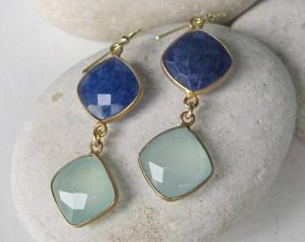 Blue Chalcedony Dangle Earring- Blue Gemstone Drop Earring- Silver Stone Earrings- Blue Quartz Earrings- Bridesmaids Blue Earring