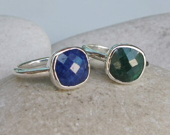 Emerald Ring- Blue Sapphire Ring- September Birthstone Ring- May Birthstone Ring- Mothers Ring- Square Ring- Stack Ring
