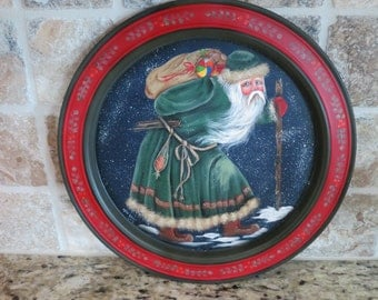 Vintage silver plate tray refurbished & hand painted with OLD WORLD SANTA  14""