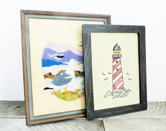Kitschy Cottage Art - Instant Collection of 5 - Beachy Cottage Chic - Seagull Lighthouse