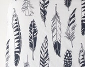 Crib Sheet in Black and White Feathers
