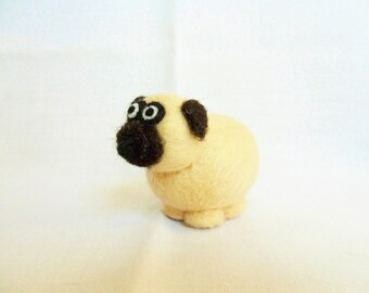 Needle Felted Pug -  miniature pug dog figure - 100% merino wool - wool felt dog - needle felted animal - felt dog - minature pug