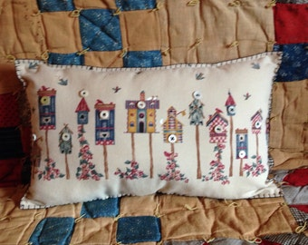 Decorative Pillow, Throw Pillow, Bird Pillow, Birdhouses, OFG, Spring Decor