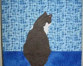 "Contemplative Kitty III  -  Quilted Fiber Art on Canvas - 12"" x 16"""