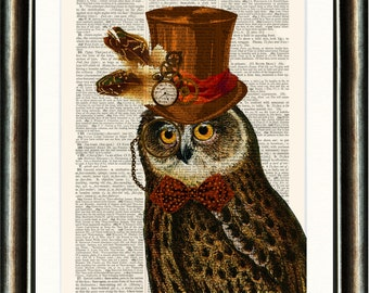 Steampunk Owl Illustration - vintage image printed Antique Dictionary Page Buy 3 get 1 FREE