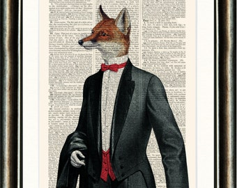 Fox in Tuxedo  - vintage image printed on an Antique Dictionary Page Buy 3 get 1 FREE