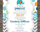 Elephant Baby Shower  invitations printable or digital file - little peanut -personalized-i nvite - invites