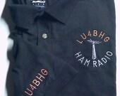 HAM RADIO Shirt - Custom EMBROIDERED with Antenna/call & Call on Sleeve - Unisex Sizes  E16