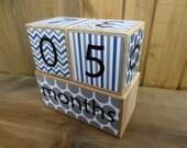 Baby age blocks/Pregnancy countdown blocks/Weeks, months, years, grade/Baby shower gift/navy blue gray/baby boy/chevron, polka dots