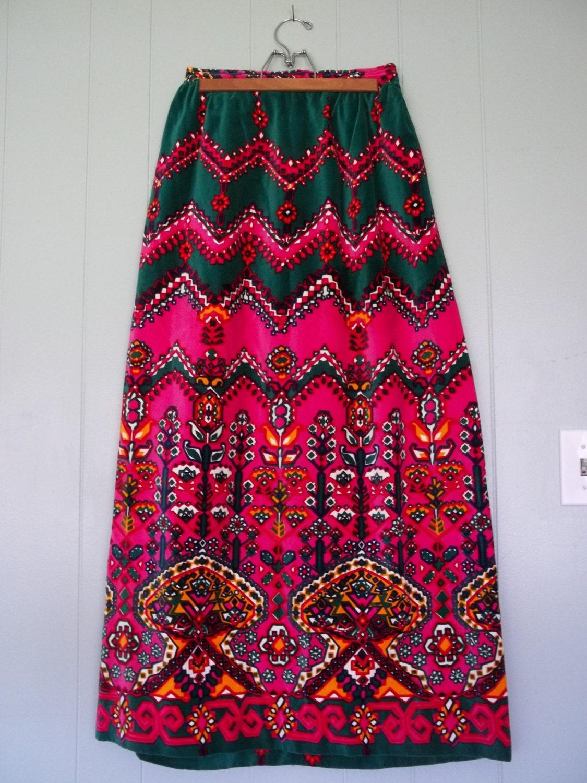 bright colorful boho maxi skirt velvet skirt made