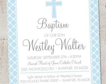Baptism (Boy) Invitation, Printable Baptism/Christening/Baby Dedication Invitation