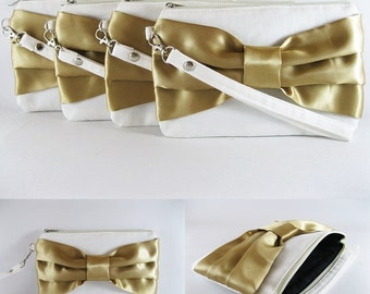 SUPER SALE - Set of 5 Ivory with Gold Bow Clutches - Bridal Clutches, Bridesmaid Wristlet, Wedding Gift, Zipper Pouch - Made To Order