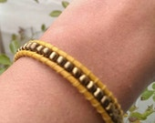 Wrap Leather Bracelet-yellow with gold rocailles-Bohemian style