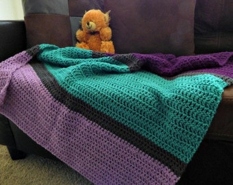 Purple Turquoise Grey Gray Baby Blanket - Shower Gift - Baby Girl