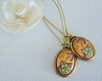Vintage Imperial Floral Cabochon Earrings