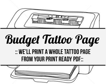 budget tattoo page- printed tattoo page from your print-ready pdf or jpeg