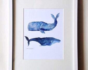 Whale Friends 8x10 Watercolor Print